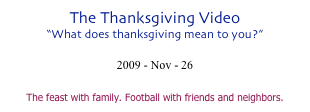 The Thanksgiving Video